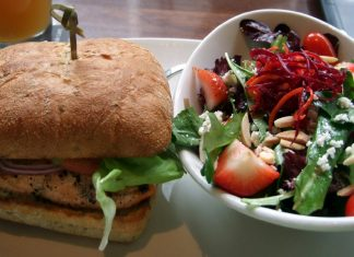 salmon burger and fruit salad