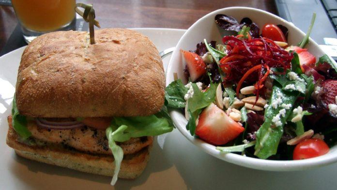 salmon burger and fruit salad