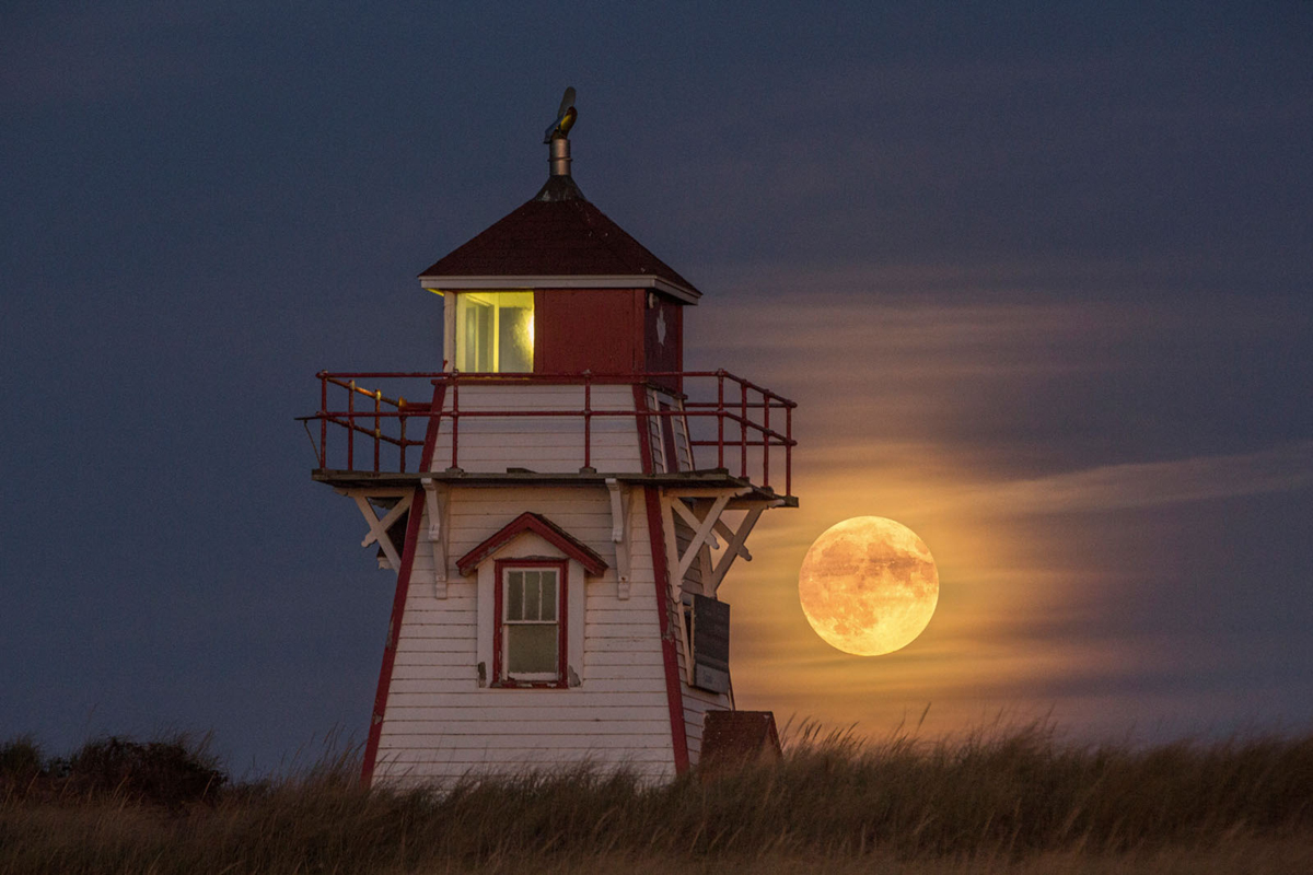 Covehead Harbour Lighthouse and Moon in PEI National Park, Green Gables Shore, PEI