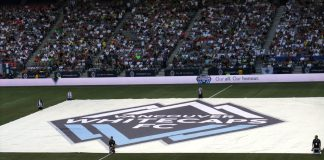 Whitecaps big flag before the game; Photo by ©Pacific Walkers/ File photo