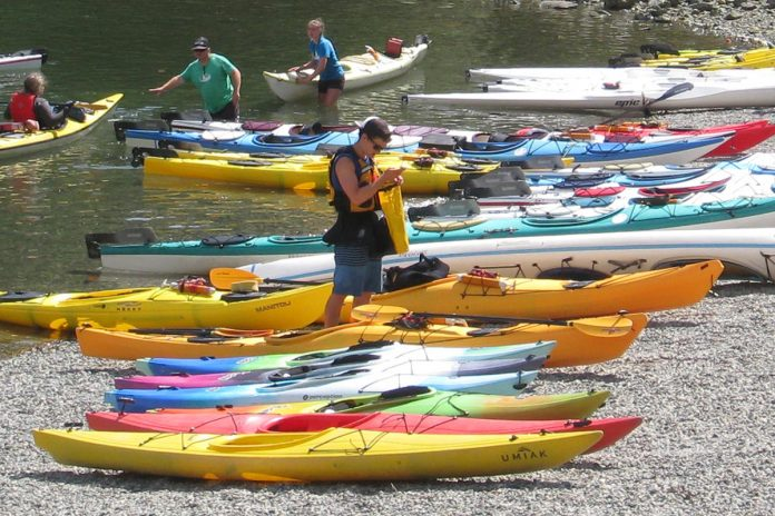 Kayaks at Deep Cove in North Vancouver, British Columbia