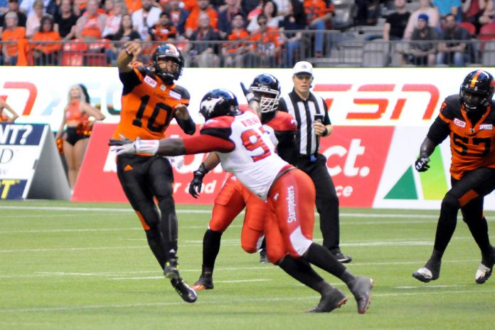 Starting QB Jennings of BC Lions lost against Calgary Stampeders. Aug 18, 2017. Photo by ©Preston Yip