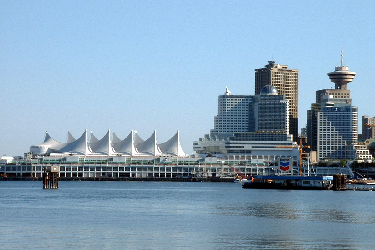 Canada Place and Harbour Centre of Waterfront taken from Stanley Park, Vancouver, British Columbia; Photo by ©Pacific Walkers