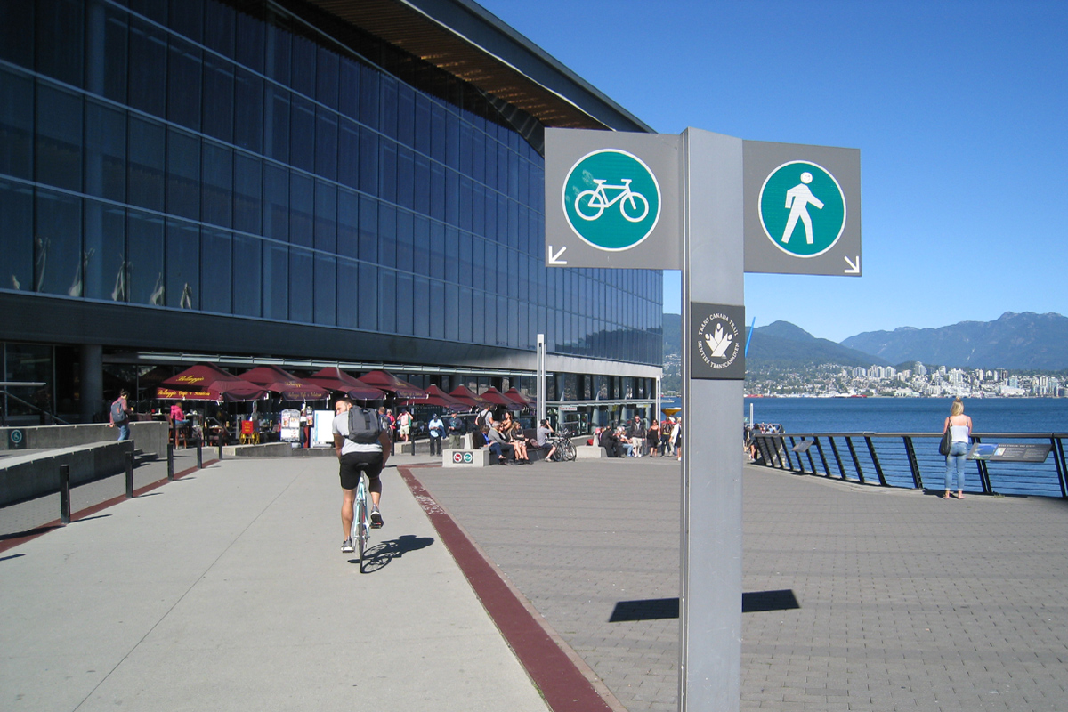 Walking/Cycling course between a new convention centre and Canada Place, Vancouver, British Columbia; Photo by ©Pacific Walkers