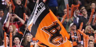 BC Lions Flag, BC Place, Vancouver; Photo by ©Pacific Walkers