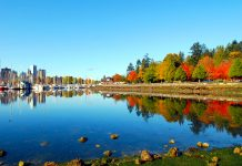 Stanley Park and yacht harbour in Autumn, Vancouver