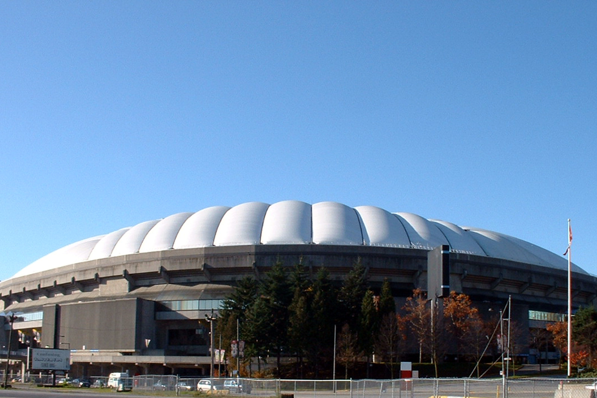 BC Place outside looks before retractable roof was installed, Vancouver, British Columbia; Photo by ©Pacific Walkers