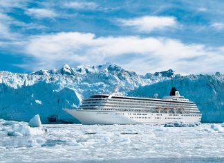 Alaska Cruise Line, Crystal Symphony at Glacier Bay, Photo courtesy of Crystal Cruises
