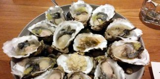 Fresh oysters from produced in BC north in October.