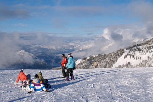 Skiers at the top of the Whistler mountain; Photo by ©Pacific Walkers