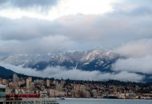 Typical January view from Vancouver to North Shore; Photo by ©Pacific Walkers