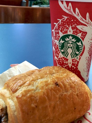 Starbucks Christmas version coffee and Chocolate Croisson at YVR