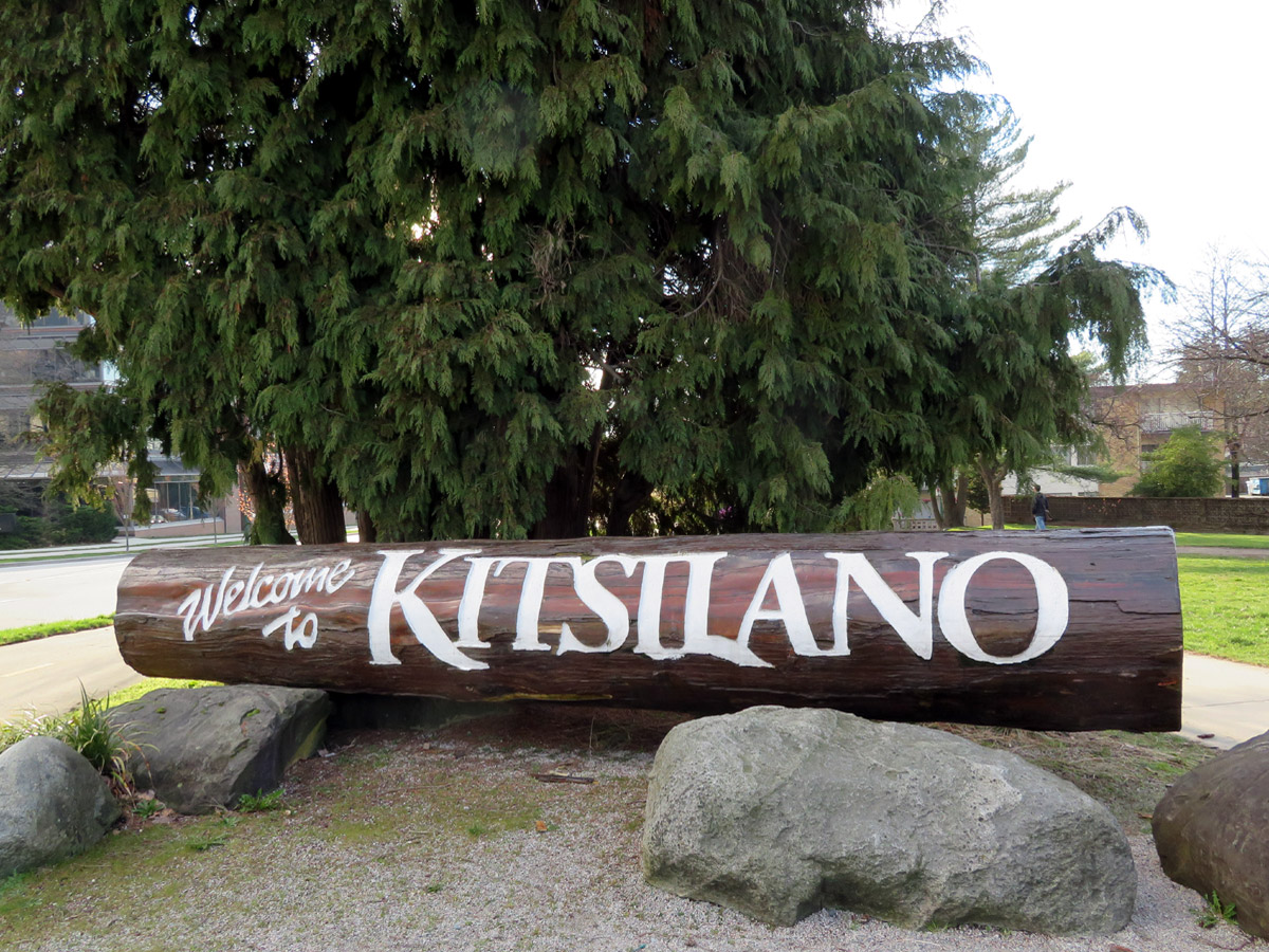 Kitsilano sign at Burrard Bridge, Vancouver; Photo by ©Pacific Walkers