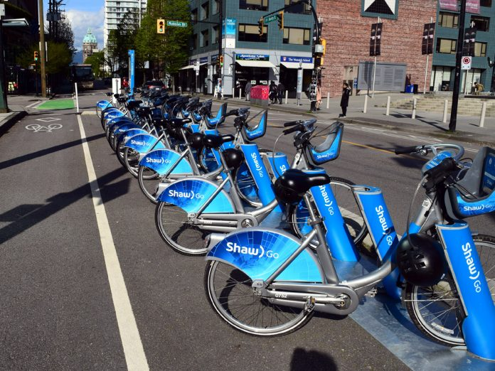 Vancouver Bike Share: MOBI at Downtown, Vancouver