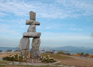 Super giant Inukshuku at English Bay, Vancouver; Photo by ©Pacific Walkers