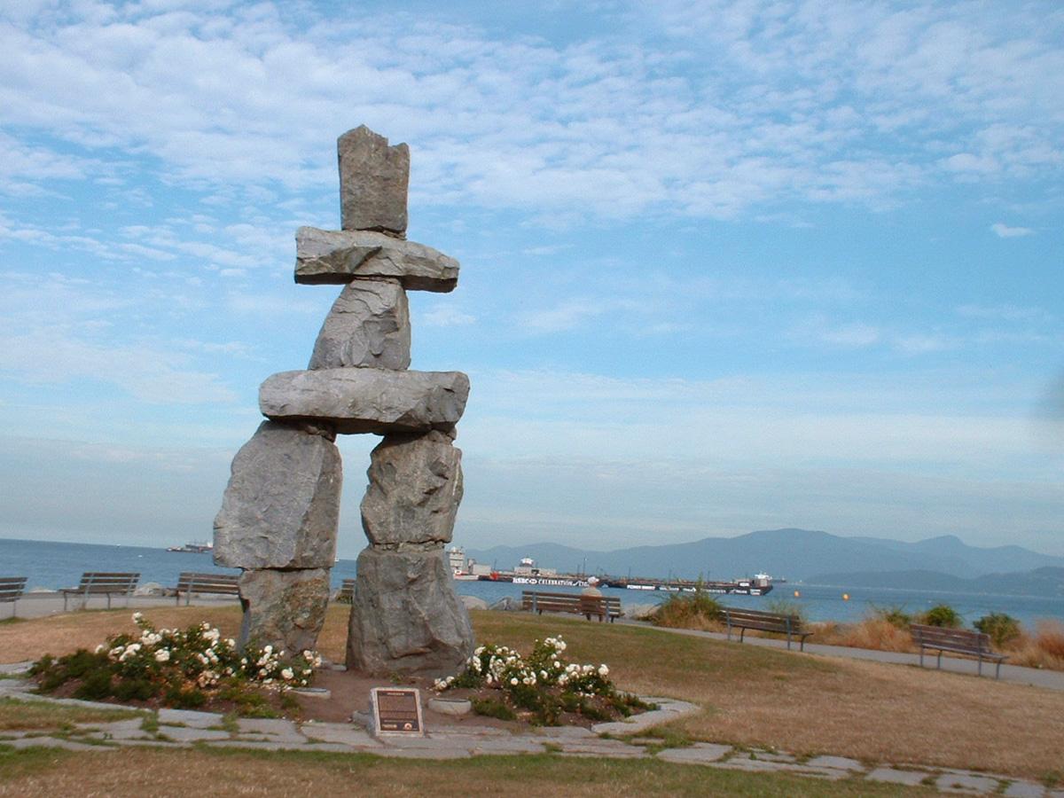 Super giant Inukshuku at English Bay, Vancouver
