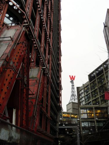 """Gastown's symbol """"W"""", new and old; Photo by ©Pacific Walkers"""
