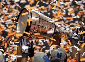 BC Lions won the Grey Cup in 2011. Nov 27, 2011, BC Place, Vancouver; Photo by ©Sam Maruyama