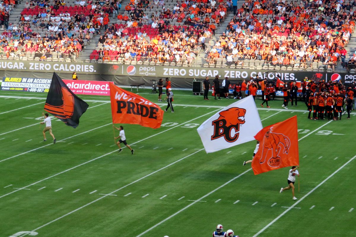 CFL BC Lions Touch Down flags; Photo by ©Pacific Walkers/ File Photo