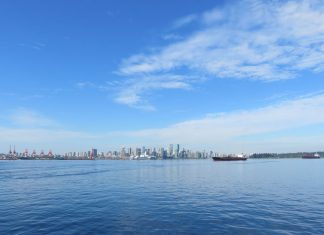Downtown Vancouver with a super blue sky and Burrard Inlet from North Vancouver; Photo by ©Yu Natusmi