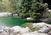 The river has a sluggish spot where people like to swim. Photo by ©Pacific Walkers