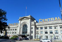 The departing point of bus and VIA Rail, Pacific Central station, Vancouver, BC; Photo by ©Pacific Walkers