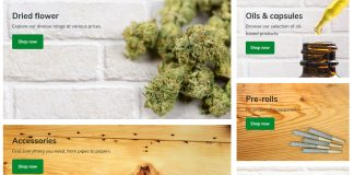 British Columbia Cannabis Online Shop shows categories, October 17, 2018. Photo from BC Cannabis Stores