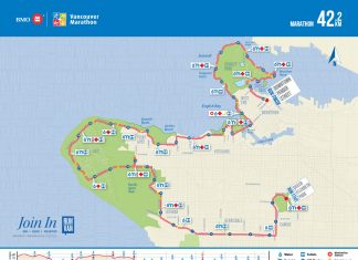 2019 Vancouver Marathon Map from ©BMO Vancouver Marathon Website