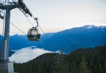 Gondola cabin sunset of Sea to Sky Gondola at Squamish, British Columbia; Photo credit/ Tara O'Grady