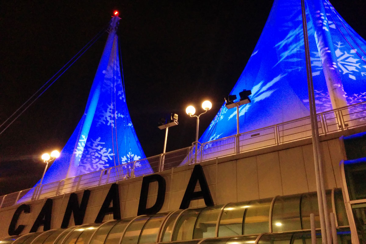 Christmas illuminations at Canada Place, Vancouver, BC; Photo by ©Pacific Walkers
