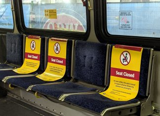 Vancouver bus seats dealing with COVID-19; Photo by ©Pacific Walkers